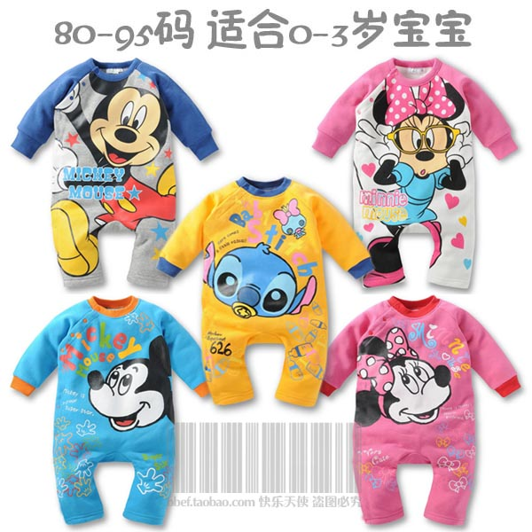 Sale-New-autumn-and-winter-baby-clothes-mickey-minnie-mouse-stitch-fashion-jumpsuit-romper-romper